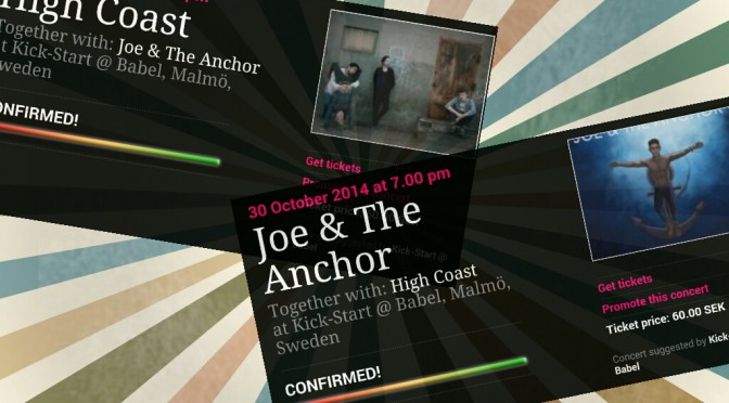 CONCERT CONFIRMED: HIGH COAST + JOE & THE ANCHOR
