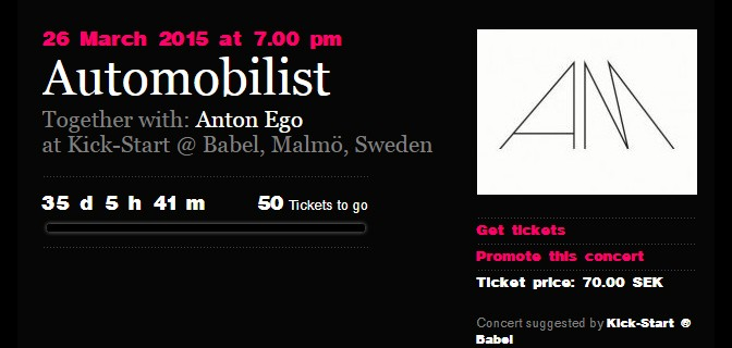 Fans are now booking: Automobilist and Anton Ego